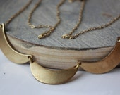 Brass Bib necklace - statement - crescent moons - customizable dainty delicate chain - simple