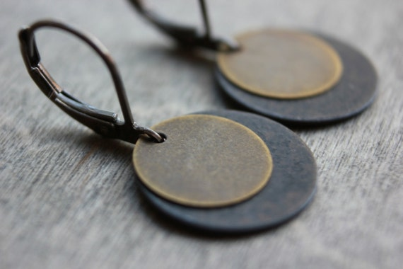 Circle Earrings Dangle Coin Disc Round Brass Gunmetal Lever Backs Simple Minimalist Minimal Black Gray Brown Tan Layered Layers Stacked
