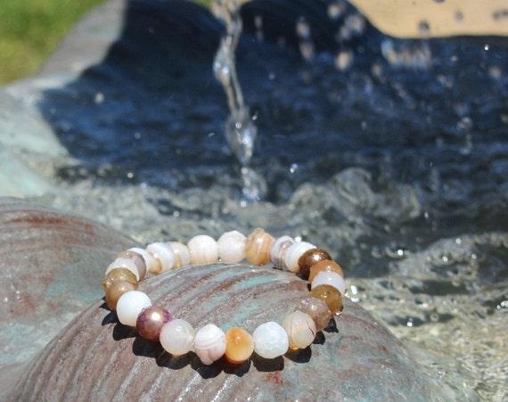 Earth Tone Agate Stretch Bracelet