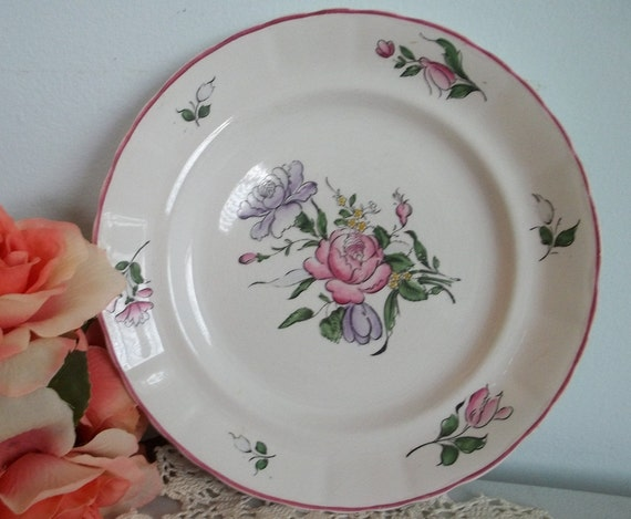 Vintage shabby chic roses hand painted Strasbourg dinner plate Chanticleer ware