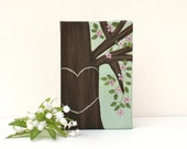 Reserved for Marsha - Personalized Honey Tree Painting with Pink Flowers  on 4 x 6 Canvas