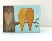 Personalized Love Bird Painting on 5 x 7 Canvas Original Wedding Gift