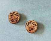 Set of 2 Woodburned Spruce Magnets Ready to Ship