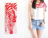 Vintage Red and White Zebra Long Silk Scarf