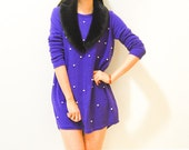 SALE Vintage Pearl Starry Night Purple Knit Mini Dress / Jumper / Sweater