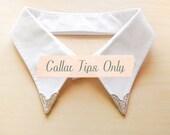 LAST PAIR - Silver Metal Collar Tips
