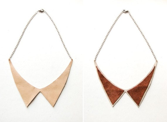 Alexa - Leather Peter Pan COLLAR Necklace - Reversible Chic