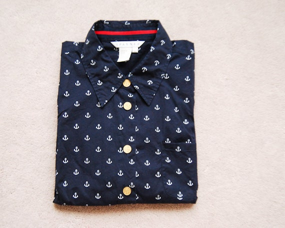 Vintage Navy Anchor Prints Blouse with Golden Buttons and Chest Pocket