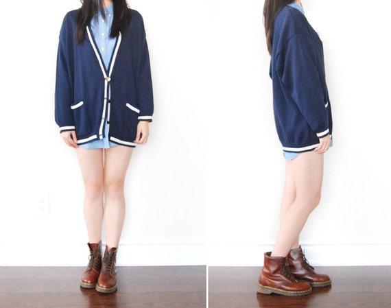 Back to School SALE - Vintage Navy Preppy Oversized Cardigan Sweater