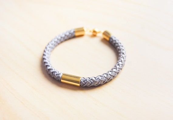 Woven and Bold - Silver Grey and Gold Accent Bracelet / Bangle - LAST ONE