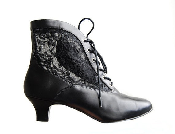 MOVING S A L E - Vintage Black Ankle Boots - with Sheer Lace Side Panels