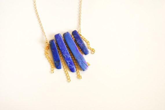 Blue Agate Stone and Golden Chain Fringe Necklace
