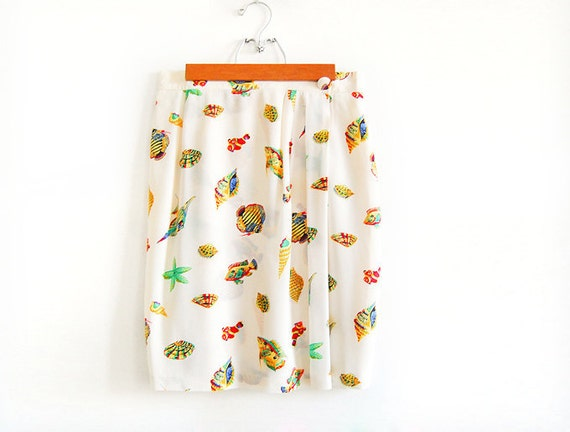 Vintage SILK Wrap Skirt with Aquarium Illustrations - Fishes and Seashells
