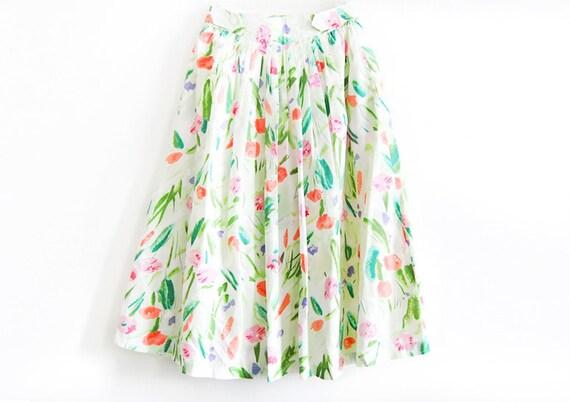 Vintage Summer Garden Floral Midi Skirt