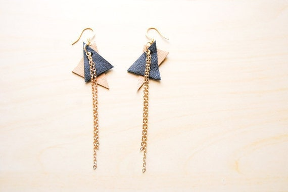 Double Triangle and Chain Earrings