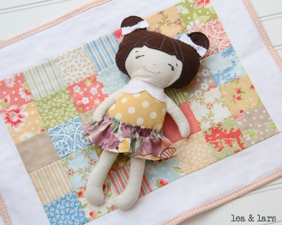 Small Rag Doll Cloth Stuffed Doll with Patchwork Blanket Quilt