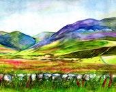 Pentland Hills, Edinburgh, A4 Fine Art Colourful Scottish Landscape Print