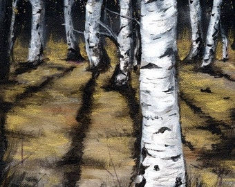 Silver & Gold, A4 Fine Art Landscape Forest at Night Painting Print