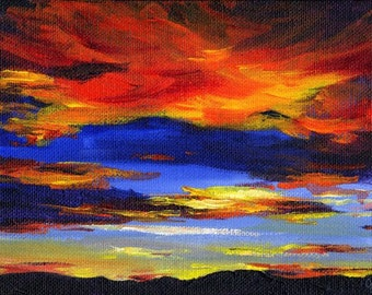 Rocky Mountain Sunset, A4 Fine Art Brightly Colored Skyscape Sunset Painting Print