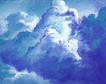 Blue Skies, A4 Fine Art Skyscape Clouds Painting Print