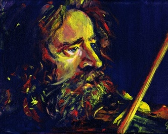 The Fiddler, Angus Grant of Shooglenifty Portrait Painting Fine Art  A4 Print