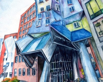 Stata Center, MIT, Boston, A4 Fine Art Crazy Surreal Geometric Cityscape Drawing Print