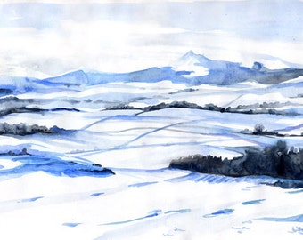 Snow on Bennachie, A4 Fine Art Scottish Winter Landscape Painting Print