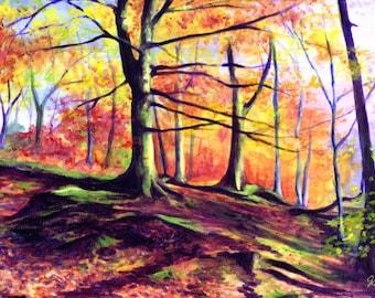 Autumn Forest, A4 Fine Art Landscape Painting Print