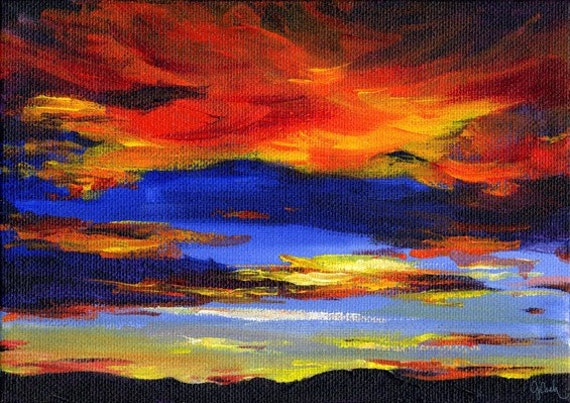 Paintings of Sunsets Mountains Sunset Painting Print
