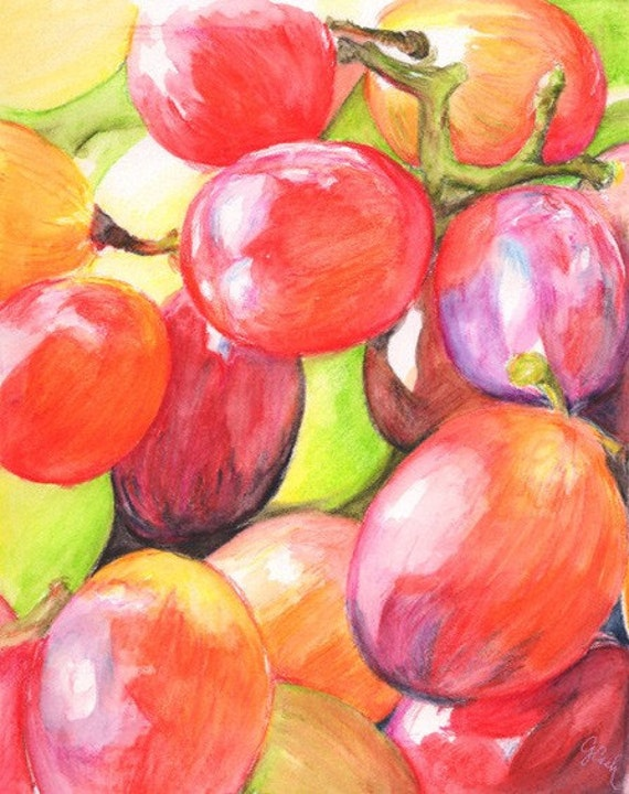 Grapey Bunch, A4 Fine Art Colorful Kitchen Fruit Still Life Painting Print
