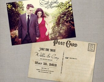 "Save the Date Card, Save the Date Postcard, Vintage Save the Date Card  - the ""Willa"""