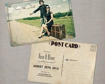 """Photo save the date / Save the Date Card / Save the Date Postcard / Vintage Save the Date Card  - the """"Rose"""""""