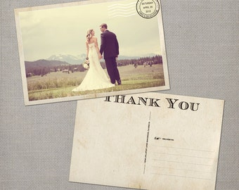 "Wedding thank you Cards, Thank You Note Cards, Vintage cards, thank you card, Wedding Postcard Vintage Thank You Cards - the ""Gia"""