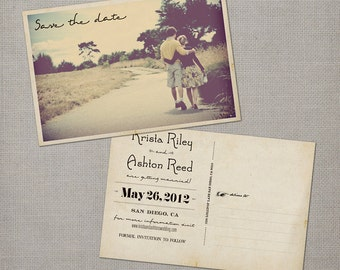 "Vintage Save the Date Card / Vintage Printable Save the Date / Save the date postcard / Save the dates / Save the date cards - the  ""Krista"""