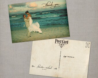 "Wedding Thank You Cards, Thank You Note Cards, Vintage cards, thank you card - the ""Kiersten"""