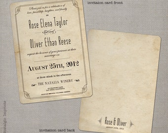 """Wedding Invitation, Wedding Invitations, Wedding Invites, Vintage Invitation, Vintage Wedding Invitation - the """"Rose 2"""""""