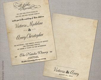 """Wedding Invitation / Wedding Invitations / Wedding Invites / Vintage Invitation / Vintage Wedding Invitation - the """"Victoria 1"""""""