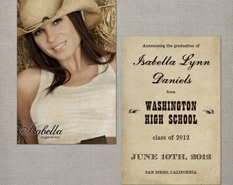 "4x6 Senior Graduation Announcement / Graduation Invitation / College Graduation / Party Invitation - the ""Isabella"""