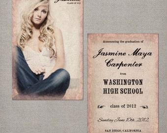 "Graduation Announcement / Senior Graduation Announcement / Graduation Invitation / College Graduation / Party Invitation - the ""Jasmine"""
