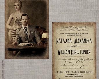 "Vintage Photo Wedding Invitations, Wedding Invites, Wedding Invitation - the ""Natasha 1"""