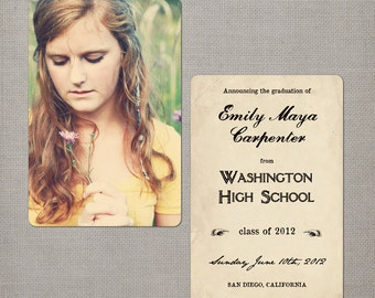 """College Graduation Announcements, 4x6, Graduation Announcements, the """"Emily"""""""