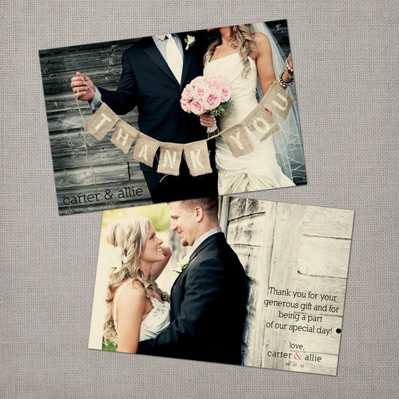"Custom photo thanks / Wedding thank yous / Wedding Thank You Cards / Thank you Cards / Vintage cards / Thank you card - the ""Allie"""