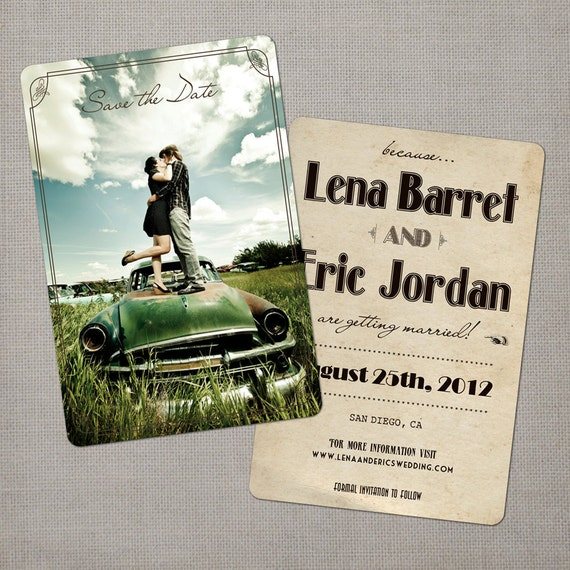 """Vintage save the date cards / Vintage / Save the date / Save the dates / Save the date cards - the """"Lena"""""""