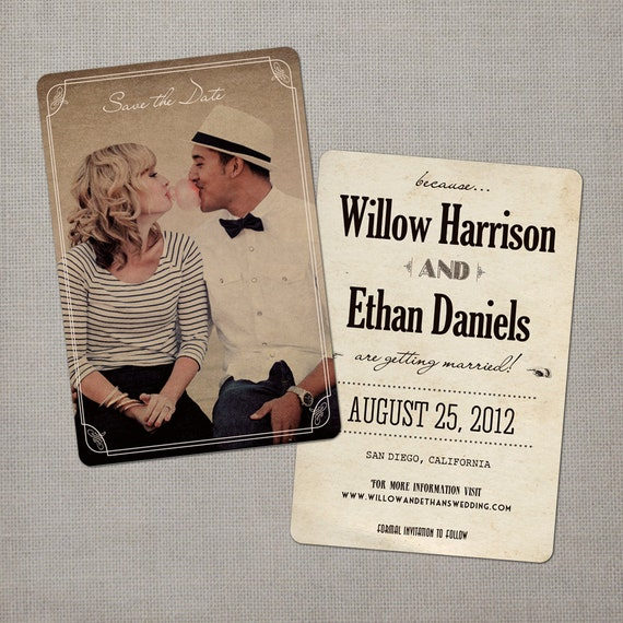 """Vintage Save the Date Cards, 4x6, Save the Date Cards, the """"Willow"""""""