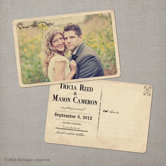 reserved for Meghanac6 - Tricia - Vintage Save the Date Postcard
