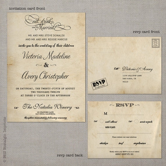 reserved for colles101 - Vintage Wedding Invitation - Victoria (set 1)