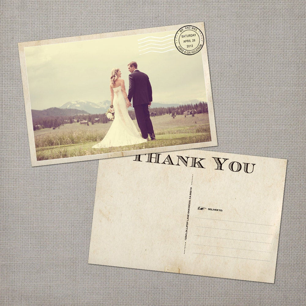 Wedding thank you Cards Thank You Note Cards Vintage cards
