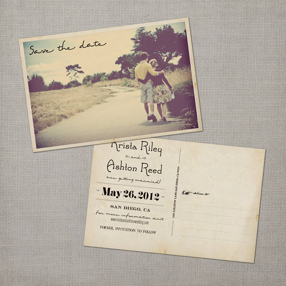 postcard save the date 4x6 save the dave card the