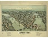 Pittsburgh Art Digital Print Vintage Map Monster Art Octopus Art Alternate Histories Geekery Cthulhu