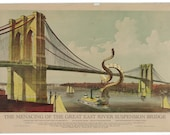 Art Print: Brooklyn Bridge Under Attack, Digital Print Octopus Tentacles, Brooklyn Bridge Art